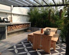 Pergola In Front Of Garage Indoor Outdoor Living, Outdoor Rooms, Outdoor Dining, Outdoor Gardens, Outdoor Decor, Porches, Outdoor Flooring, Outdoor Tiles, Outside Living