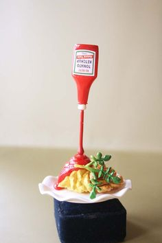 Floating ketchup on the french fries ring by lepetitebonbon #food #miniature #handmade #polymer #clay #cute #dollhouse