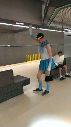 """Are you a Sailor Scout?"" ""I'm sailor Freddy Mercury.""  #sailormoon #sailormercury #freddymercury #jajaja #costume #cosplay #subway #hilarious #purse"