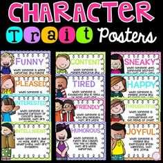 34 Character Trait Posters included:FunnyContentSneakyHappyPleasedTiredThoughtful Friendly InterestedJoyful HumorousIntelligentConfidentConfusedEmbarrassedProudExcitedCaringCharmingFun LovingEmotionalHopelessEnergeticAmbitiousWorriedTalentedPeacefulShyRespectfulCleverGenerousImaginativeHelpfulEasygoingYou may also be interested in my genre posters:Genre Posters