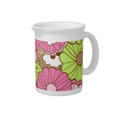 Pretty Pink Green Flowers Spring Floral Pattern Drink Pitchers