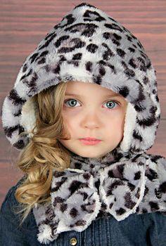 Hood Cowl Howl Toddler Girls Cheetah Leopard Fur by Gwillekkers