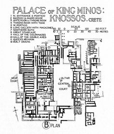 Lecture 3 palace of king minos - kinossos crete Ancient Rome, Ancient Greece, Ancient Art, Ancient History, Art History, Frank Herbert, Architecture Concept Drawings, Historical Architecture, Reconstruction Plans