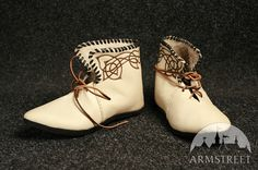 Classic medieval celtic handmade leather shoes boots with burned pattern for sale