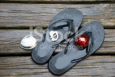 Kiwiana Christmas, Jandals, Bauble and Shells royalty-free stock photo