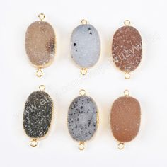 Wholesale Gold Plated Oval Natural Agate Druzy Connector Two Loops Natural Color Geode Crystal Charm Drusy Gemstone Jewelry Bead CL012 by Druzyworld on Etsy