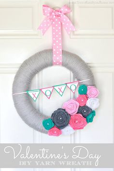 Valentine's Day Yarn Wreath. I could live without the xoxo's on this but it's a very cute and easy wreath. The colors could easily be changed.
