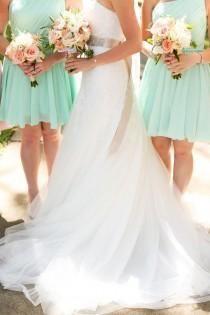 mariée demoiselle d'honneur vert d'eau