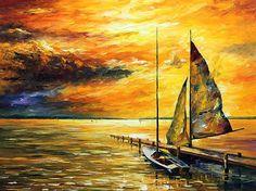 Sailfish - Palette Knife Seascape Sailboat Oil Painting On Canvas By Leonid Afremov Print By Leonid Afremov