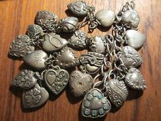 22 BEAUTIFUL ALL VINTAGE 1940'S STERLING PUFFY HEART CHARMS-NICE ONES! NO RES!