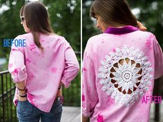 DIY Doily Embellished Shirt Before After
