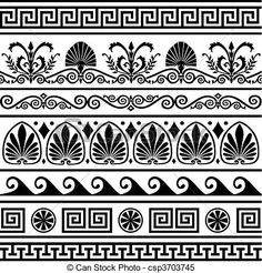 Vector - Set of vector antique greek borders - stock illustration, royalty free illustrations, stock clip art icon, stock clipart icons, logo, line art, EPS picture, pictures, graphic, graphics, drawing, drawings, vector image, artwork, EPS vector art