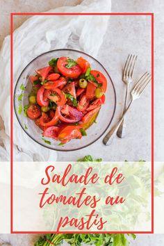 Une salade fraîche qui sent bon l'été et le sud de la France grâce aux olives et au pastis. Sent Bon, Vegetables, Olives, France, Food, Mediterranean Kitchen, Healthy Eating Recipes, Essen, Vegetable Recipes