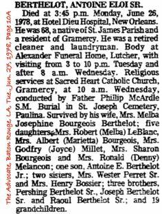Berthelot, Antoine Eloi Sr. Obituary