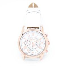 vovotrade Las nuevas mujeres de la moda de Ginebra Numeros romanos simil cuero analogico reloj de pulsera de cuarzo Blanco