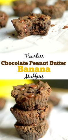 Flourless Chocolate Peanut Butter Banana Muffins are a healthy and delicious breakfast or snack made with 6 ingredients! gluten-free with paleo and vegan options! Flourless Chocolate, Healthy Chocolate, Chocolate Recipes, Peanut Butter Banana, Chocolate Peanut Butter, Nutter Butter, Baking Recipes, Snack Recipes, Paleo Recipes