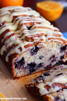 Eat Cake For Dinner: Orange Blueberry Muffin Bread with Orange Cream Cheese Icing
