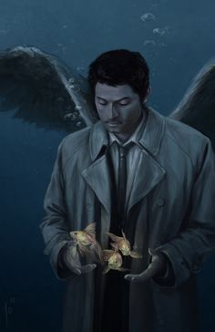 """Oh my gosh Castiel and the fish .""""don't step on that fish Castiel .big plans for that fish ."""""""