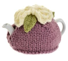 Damson knitted tea cosy with cream flower detail (small)