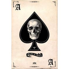 Ace of Spades Skull Art Poster Print - dark goth style with banner text at the bottom, could push this layout farther and make it more interesting Totenkopf Tattoos, Arte Sketchbook, Ace Of Spades, Maori Tattoos, Art Et Illustration, Halloween Illustration, Poster Prints, Art Prints, Skull And Bones