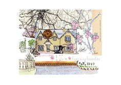 English Cottage  Ink watercolour and collage by lynseyhunter, $20.00