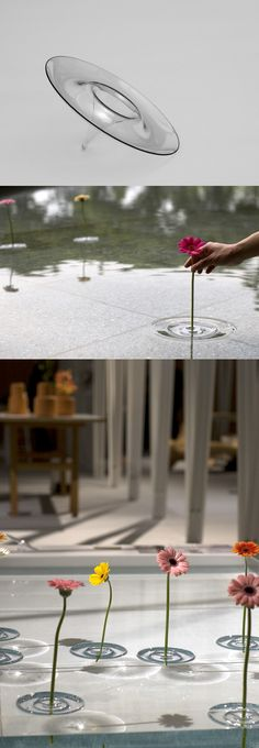 Floating vases, would be awesome with floating candles at a poolside evening party.