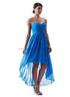 Robe de demoiselle d'honneur courte mousseline bleu