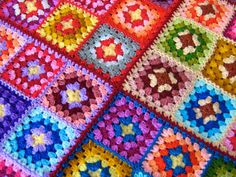 Granny square afghan blanket warm wrap colorful by turtlemurtle