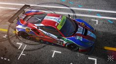 AF Corse Ferrari 488 GT3 WEC (World Endurance Champinship) rendered in KeyShot by Sergio Loza.
