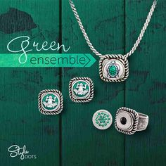 Our Ovation Single Necklace and Ring (available in sizes 6 - 10) offer the perfect setting for any of our 12 mm Dots.  Shown here are the Turtle Dot and Frog Dot for casual outfits, and a sparkly Emerald Ice Dot for a less casual outing.
