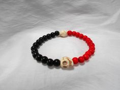 Black and Red with Stone Skulls Beaded Stretch Bracelet by NfntyArt on Etsy