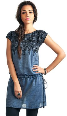 Chambray Tunic with Black Embroidery | Naari