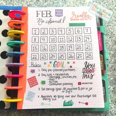 No Spend February page for my Happy Planner. Planner Layout, Goals Planner, Blog Planner, Budget Planner, Planner Pages, Life Planner, Happy Planner, Planner Ideas, Bullet Journal Writing