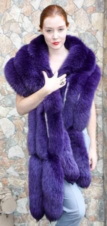 Dyed Purple Fox Fur Stole Crystals 5493 Image