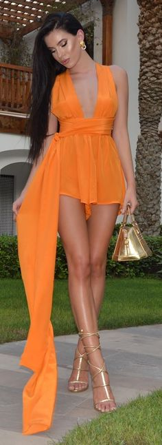 Tangerine Flowy Silk Playsuit by Laura Badura Fashion