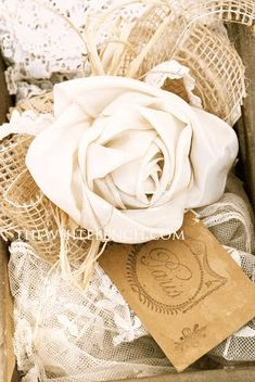ribbon rose tutorial, lovely shabby chic / vintage / cottage accent, beautiful with the lace, would set well with burlap Faux Flowers, Diy Flowers, Fabric Flowers, Paper Flowers, Rose Flowers, Ribbon Crafts, Flower Crafts, Fabric Crafts, Diy Ribbon