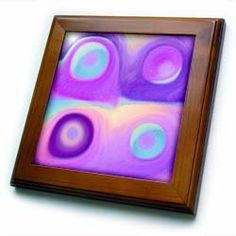 """Abstract purple and turquoise suns and planets - 8x8 Framed Tile by Jaclinart. $22.99. Cherry Finish. Dimensions: 8"""" H x 8"""" W x 1/2"""" D. Keyhole in the back of frame allows for easy hanging.. Solid wood frame. Inset high gloss 6"""" x 6"""" ceramic tile.. Abstract purple and turquoise suns and planets Framed Tile is 8"""" x 8"""" with a 6"""" x 6"""" high gloss inset ceramic tile, surrounded by a solid wood frame with predrilled keyhole for easy wall mounting.. Save 15%!"""