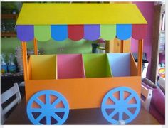 × - Clara Wish Cardboard Box Crafts, Paper Crafts, Diy And Crafts, Crafts For Kids, Sweet Carts, Candy Cart, Candy Table, Candyland, Holidays And Events