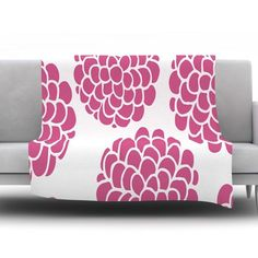 Raspberry Blossoms by Pom Graphic Design Fleece Throw Blanket