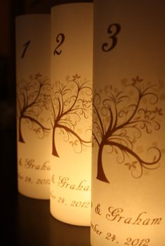 Table Numbers - Luminaries - Fall Tree Design on Etsy, $2.50