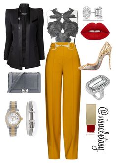"""Slayage "" by visualxtasy on Polyvore featuring Balmain, ADAM, Christian Louboutin, Allurez, Lime Crime, Chanel, Louise et Cie, Rolex, Burberry and Hermès"