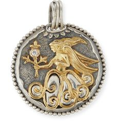 Konstantino Virgo Carved Zodiac Pendant with Diamond ($1,700) ❤ liked on Polyvore featuring jewelry, pendants, necklaces, 18k jewelry, konstantino jewelry, 18k pendant, carved pendant and 18 karat gold jewelry