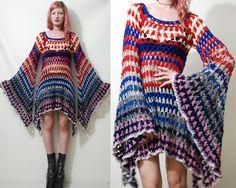CROCHET DRESS Vintage Colourful Granny Square Bell Sleeve Mini Handmade Boho Bohemian Hippy vtg Wool XS