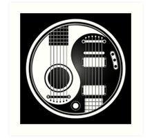White and Black Acoustic Electric Guitars Yin Yang Art Print