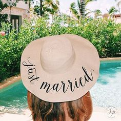 PRODUCT INFO: -Hat Material: Paper Straw -Head Circumference: 22.5 inches -Brim Width: 6 inches - Brim has a wire trim so it is easy to reshape -Packable and flexible -Wording reads just married ORDERING INFO: -When purchasing please leave in the notes to seller date needed by. -This listing is for any of our standard wording options (Honeymooning/wifey/out of office/do not disturb/etc) but will come as just married unless otherwise specified! -If ordering Sequin Art ple... #packablesunhat