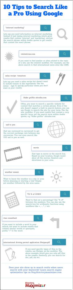 10 Tips to Search Like a Pro Using Google. #flowchart #infographic