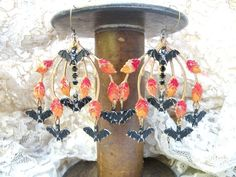 Bat and fall foliage charm earrings  by lilyofthevally