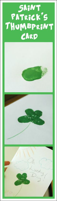 Saint Patrick's thumbprint card craft - so cute, and easy for kids!
