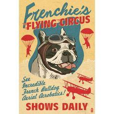 French Bulldog Retro Flying Circus Ad - LP Artwork (Acrylic Wall Clock), Black (Plastic)