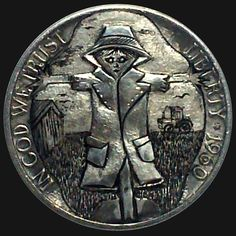 DIMAS SÁNCHEZ MORADIELLOS HOBO NICKEL - THE SCARECROW - 1960 JEFFERSON NICKEL Hobo Nickel, Coin Art, Coin Collecting, Coins, Carving, Fantasy Art, Awesome, Key Fobs, Rooms
